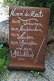 Edelrost Tafel mit Welle Nimm Dir Zeit.Gartendekoration Schild Metall