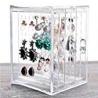 HQdeal NEW Acrylic Earring Display Stand Organiser Holder Earring Studs Storage Clear
