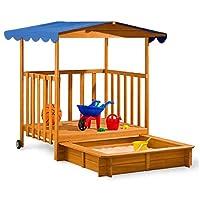 DEUBA Large Wooden Sandpit Sand Box with Roof Canopy Play Veranda 130x130x143cm Outdoor Garden Sandbox Pit Children
