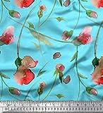 Soimoi Bleu Crepe Poly en Tissu Pois Doux et Feuilles Aquarelle Tissu Imprime par Metre 52 Pouce Large