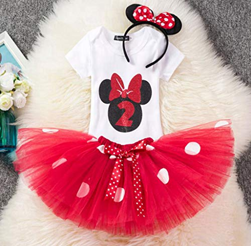 Kostüm Minnie Miss - DMMDHR Halloween Tollder Girls Minnie Dot Clothing Set Children Kids 1 2 Birthday Romper T Shirt Tutu Dress Halloween Christmas Clothes Costume,Rose2