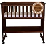 Baby Bassinet with Storage Shelf Walnut Baby Cribs - Cribs For Babies on Wheels - Cradle For Baby - Walnut Crib With Wheels - Baby Bassinet Crib - Baby Cribs With Mattress