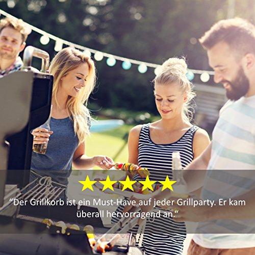 516cfIQp%2BFL - Premium Gemüse-Grillkorb von Grill Republic | Große BBQ-Grillschale aus Edelstahl | Zubehör für Holzkohle-, Elektro- und Gas-Grill sowie Backofen | Spülmaschinenfest | Maße: 30 x 34 x 6 cm