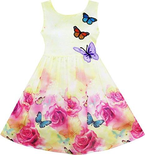Mädchen Kleid Rose Blume Drucken Schmetterling Stickerei Lila Gr.122