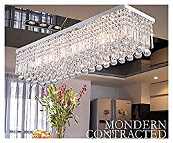 A1A9 Modern Crystal Chandelier Lights, Luxury Clear K9 Crystal Droplet Elegant Ceiling Lights Fixture Rectangular Flush Mount Chrome Pendant Lighting for Dining Room Livingroom Foyer Lounge Kitchen