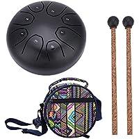 Tambor de Tanque de Acero Inoxidable, 5.5 Pulgadas Tambor de Lengua Tongue Handpan Drum Tambor Colgado Pan de Mano Instrumento de Percusión Bolsa de Tambor Lengüeta Lengua Manual(Café)