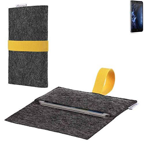 flat.design vegane Handy Hülle Aveiro für Doogee Y6 4G passgenaue Filz Tasche Case Sleeve Made in Germany