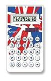 Genie 30CB 8-stelliger Taschenrechner (Dual-Power (Solar und Batterie), Union Jack Design) weiß