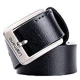 Leathario Cintura uomo cuoio in vera pelle chiusura fibbia in metallo cinghia casuale 125CM