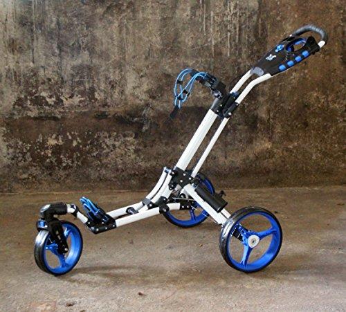 """Golftrolley Yorrx® SL Pro 7 HAMMA """"PLUS"""", Golfwagen mit innovativem 360° SPIN Vorderrad (frei 360° gelagert), inkl. Regenschirmhalter & Tees (blau/weiß)"""