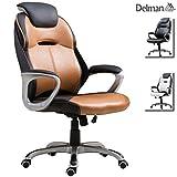 Delman Drehstuhl Bürostuhl Schreibtischstuhl Chefsessel Bürodrehstuhl Profi-Bürostuhl mit hoher Rückenlehne PU Kunstleder Kopfstütze ergonomisch Sitzhöhe einstellbar 02-1014 (Braun)