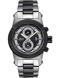 JBW J6263G - Reloj de cuarzo para hombre, correa de acero inoxidable color negro