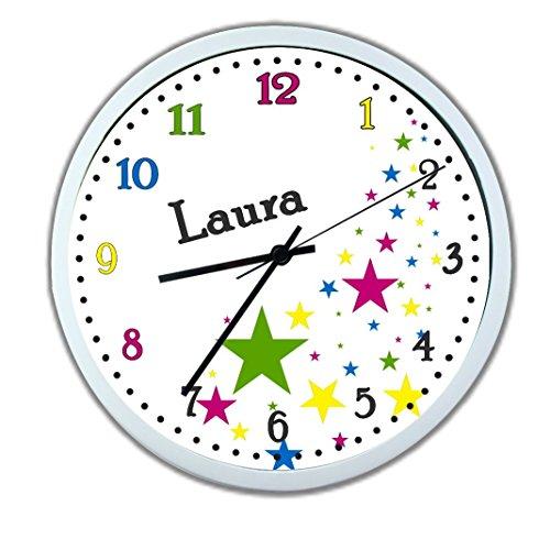 Wanduhr mit Wunsch- Namen für Kinderzimmer ; einzigartige Kinderuhr ; Rahmen weiß ; Kinder Wanduhr mit oder ohne Namen auf Wunsch personalisiert ; Uhr - Motiv Sterne