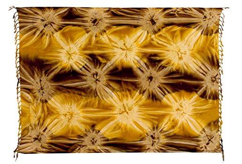 Sarong Pareo Wickelrock Strandtuch Tuch Wickeltuch Handtuch - Blickdicht - ca. 170cm x 110cm - Gold Braun mit Batik Motiv Tie Dye Handgefertigt inkl. Kokos Schnalle in Fischform (Kokos-schnalle)