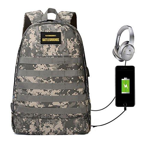 KOBWA PUBG Level 3 Rucksack, Assault Pack Rucksack mit USB-Ladeanschluss und Kopfhörerbuchse, Wasserabweisend, 18 Zoll PC Computer Taschen für College, Arbeit, Reisen, grün