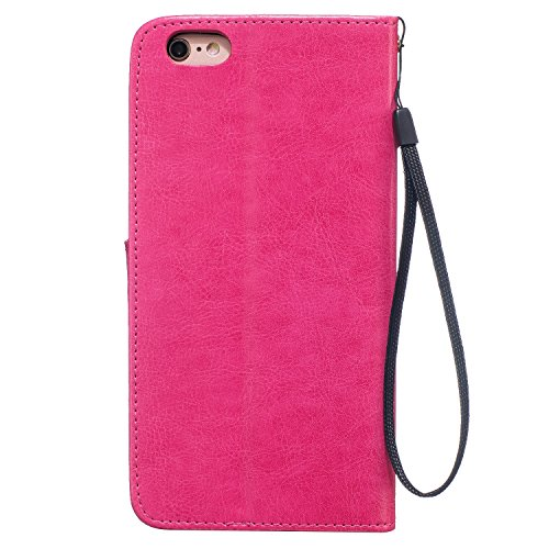 "MOONCASE iPhone 6S Plus Bookstyle Étui Pissenlit Housse en Cuir Case à rabat Coque de protection Portefeuille TPU Case avec Béquille pour iPhone 6 Plus / 6S Plus 5.5"" Violet Rose Rouge"
