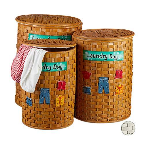 Relaxdays Bambus Wäschetonne 3er Set, Wäschekorb mit Deckel, herausnehmbarer Stoffbezug, luftdurchlässiger Korb, braun, Honigbraun,