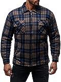 Herren Fleece Jacke Holzfäller Hemd Thermo Flanell Sweat Shirt H2070,Dunkelblau-Braun,XL