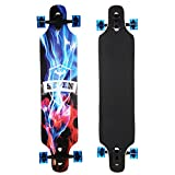 Ancheer Longboard Komplettboard Skateboard Drop-Through Freeride Skaten Cruiser Boards Street Freeride Longboard,, ABEC-11, 104x24cm, 70x51 PU-Räder