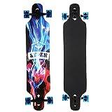 Swteeys Cruiser Longboard Restro Skateboard Outdoor Komplettboard ABEC kugellager Rollen Schwarz Longboard Freeride Skate Cruiser Boards 104cm x 24cm