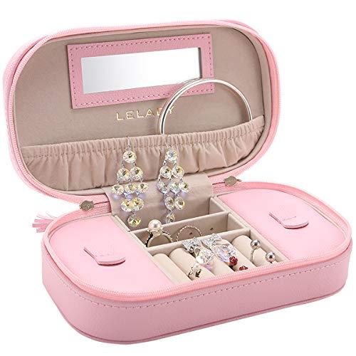 LELADY Kleines Reise Schmuckkästchen - Aufbewahrungsbox mit Spiegel - geeignet für Ringe, Ohrringe, Halskette und Armband - rosa