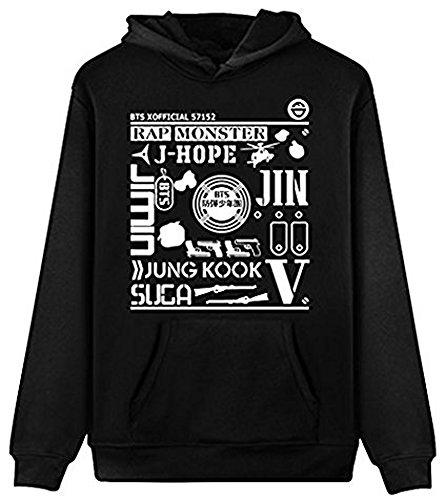 ShallGood Damen Jacke Blouson BTS Fans Sweatshirt Sweatjacke Baseball Uniform Langarm Stehkragen Tops Coat Bomberjacke Bikerjacke Reißverschluss Outerwear Kurzjacke Schwarz DE 42 (Blouson Top Jersey)