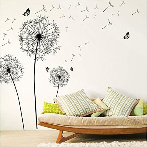 Chaoaihekele Große Schwarze Löwenzahn R Wandaufkleber Dekoration Wohnzimmer Schlafzimmer Möbelkunst Aufkleber Schmetterling Wandbilder