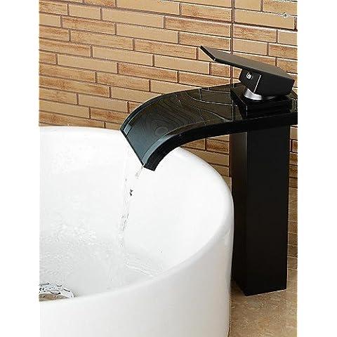 XMQC*Olio contemporanea sfregata cascata di bronzo il lavandino del bagno rubinetto in vetro - Nero ,