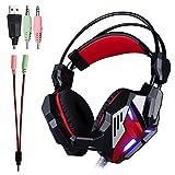 KOTION EACH G3100 Vibration Fonction Pro Gaming Casque Gamer Headset avec Stéréo Mic Basse Lumière LED pour PC Gamer(noir et rouge )