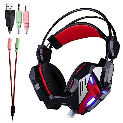 KOTION EACH G3100 3,5 mm Estéreo Gaming Headset con LED Luz Cancelación de ruido & Control del volumen para PC juegos de ordenador, tabletas, ordenadores portátiles Negro+Rojo