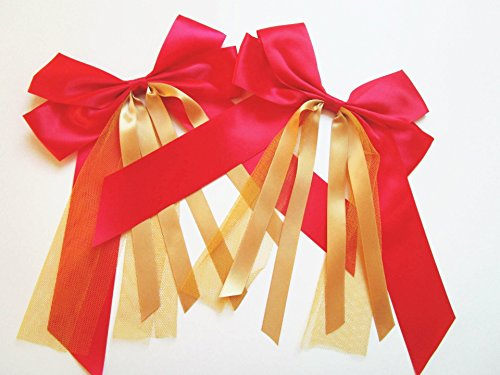 Preisvergleich Produktbild CaPiSo® 2 x Schleife Handarbeit 20 x 30 cm in verschiedenen Farben (2 Stück rot-gold mit Tüll)