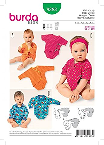 Burda Baby Schnittmuster 9383Bodys + Gratis Minerva Crafts Craft