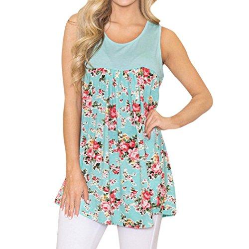 Yidartono Women Tank Tops, Loose Plus Size T-Shirts Casual Floral Printed Stitching Sleeeveless Tops Blouse