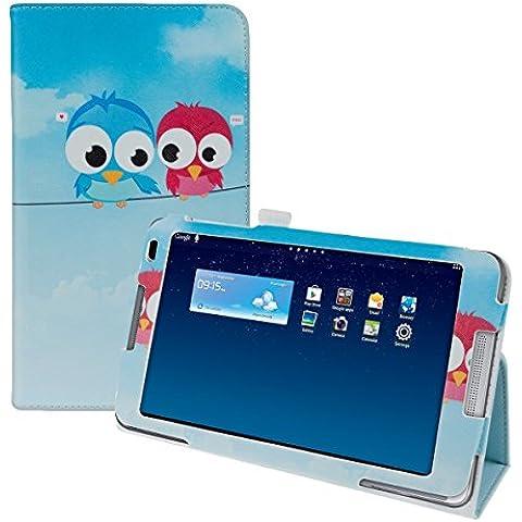 kwmobile Funda chic de cuero sintético para el Huawei MediaPad M1 8.0 en azul rojo azul claro con una práctica función de soporte y Diseño pájaro comic
