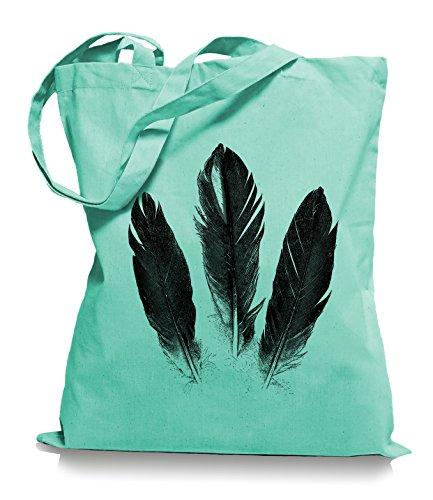 Ma2ca® Feathers Feder - Jutebeutel Stoffbeutel Tragetasche / Bag WM101 Mint