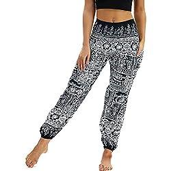 Nuofengkudu Mujer Pantalones Harem Tailandes Hippies Vintage Boho Flores Verano Alta Cintura Elastica Casual Danza Yoga Pants Bombachos Negro Geometría