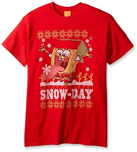 SpongeBob Nickelodeon Herren T-Shirt Snow Day Ugly Christmas - Rot - Groß