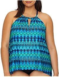63c5089b55 Miraclesuit Women's Plus Size Swimwear Cabana Chic Peephole High Neckline  Full Bust Support Tankini Bathing Suit