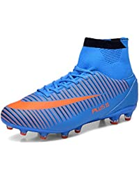 huge discount 44633 febfb WOWEI Football Boots High Top Spike Soccer Shoes Outdoor Training Unisex  Adults Big Child Sneakers