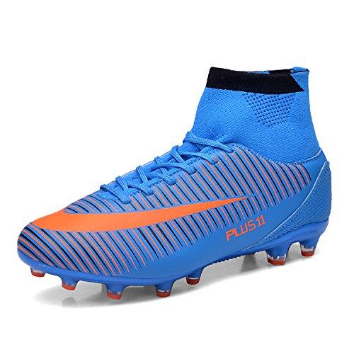 WOWEI Fußballschuhe High Top Spike Cleats Outdoor Athletics Trainingsschuhe Unisex Erwachsene Teenager Fußball Stiefel,Blau,EU44