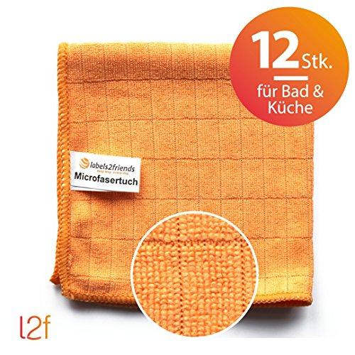 Kuchen Aufnahmen (Microfaser Tücher clean2magic Küche/Bad (12-teilig) | 12 Mikrofasertücher (orange) für alle Küchen- und Badflächen | 30 x 30 cm)