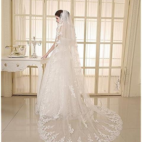 SUYU Coda lunga abito nuziale nozze velo-Accessori-matrimonio-wedding stile europeo di filato , white - Velo Abito