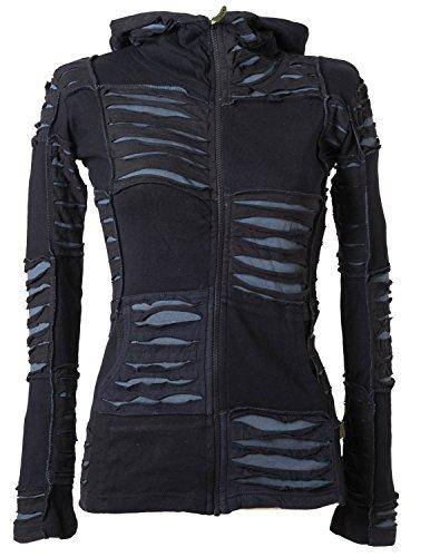 Vishes - Alternative Bekleidung - Damen Patchwork Jacke mit Cutwork und Zipfelkapuze Schwarz-Grau 44 - Pixie Grau