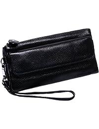 Itslife Leather Wristlet Wallet Clutch Ladies Smartphone Cross Body Wallet With Shoulder Strap/Wrist Strap (Black_)