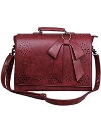 ECOSUSI Sac Cartable en Bandoulière pour Femme Sac à Main Vintage Sac d'Ordinateur Portable Sac Porté Travers Femme 37.5(L)*27(H)*10(W) cm