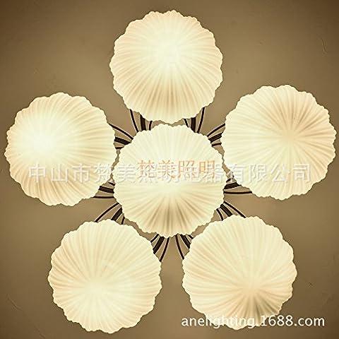 YUPD@Lampada da soffitto Plafoniere Lampada da soffitto di vetro bianco in ferro battuto , 6 (Acquario Light Fixtures)