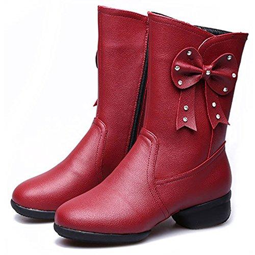 Oasap Damen Fashion Rund Blockabsätzen Reißverschluss Stiefel Red