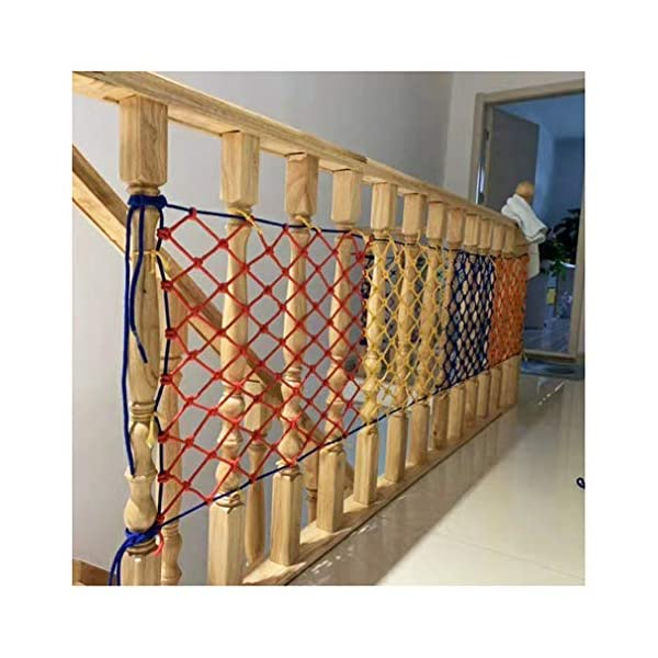 Children's Climbing Net, Color Rope Net, Fence Net, Pet Cat Stair Anti-fall Net, Garden Plant Protection Net, Wall Ceiling Amusement Park Decoration Net Size: 1×5M (Size : 3 * 7M)  ✪ Material: Polyester braided rope, hand-tightened, so that the mesh has greater tensile strength and strong impact resistance. Climbing Net. ✪ Three strands of rope: Woven with three strands of rope, precision wiring, workmanship, high temperature baking, dyeing, anti-corrosion, waterproof, sunscreen, anti-reinforced braided rope is not easy to break, durable. Climbing Net. ✪ Hand-woven: Lightweight child safety stair protection net, high-grade sturdy fabric, professional knotting, multi-strand weaving, make the rope more durable, has strong impact resistance, and protect children's safety. Climbing Net. 2