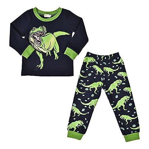 Little Hand Ensemble Pyjama Garcon Dinosaures Manches Longues Haut et Pantalon Noir pour 1 2 3 4 5 6 7 ans