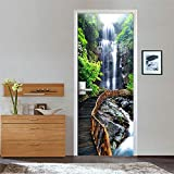 YSFU Wandsticker 2 Panels Wasserfall In Der Nähe Von Holztreppen Bild 3D Wandbilder Wandaufkleber Tür Aufkleber Tapete Aufkleber Home Decoration